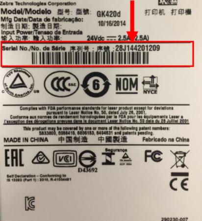 A nyomtató szériaszámát a készülék alján lévő címkén találja.